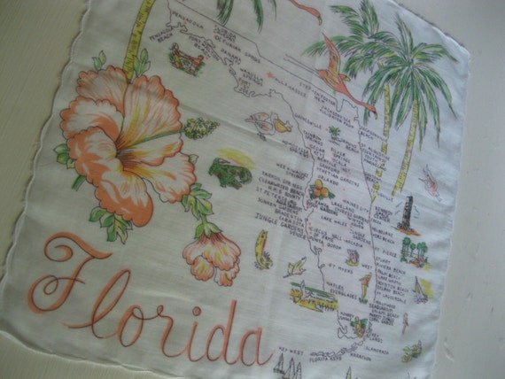 Vintage 1960s Florida souvenir handkerchief hankie with pink flamingos, hibiscus and palm trees