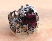 Stunning Vintage Garnet Dentelle Crystal and Silver Filigree Ring Victorian Jewelry -  by Lorelei Designs