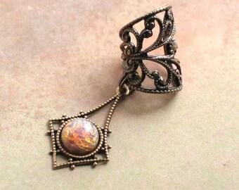 Pixie Dust - Filigree Ear Cuff - Vintage Czech Pink Opal Harlequin Bohemian Jeweled Earcuff by Lorelei Designs