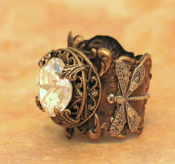 Moonlight Dragonfly - Gorgeous Crystal and Filigree Ring - By Lorelei Designs