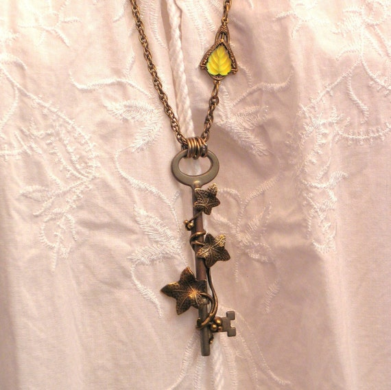 Skeleton Key Necklace - Antique Vintage Assemblage - Key to the Forest by Lorelei Designs - STEAMPUNK Industrial VICTORIAN Gothic