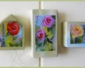 Roses Lavender Abstract Prints on Wood Blocks Wall - Table - Shelf Decor - Set of 3 Art Blocks