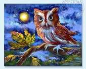 Owl - Screech Owl - Night Moon - Autumn Fall - Fine Art Print