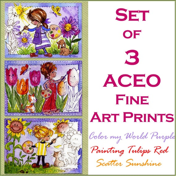 3 ACEO Artists Painting Fine Art Prints Purple Daisies Red Tuplips Yellow Sunflowers FREE Shipping