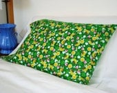 Snuggly Flannel Pillow Case - Green Rainbow