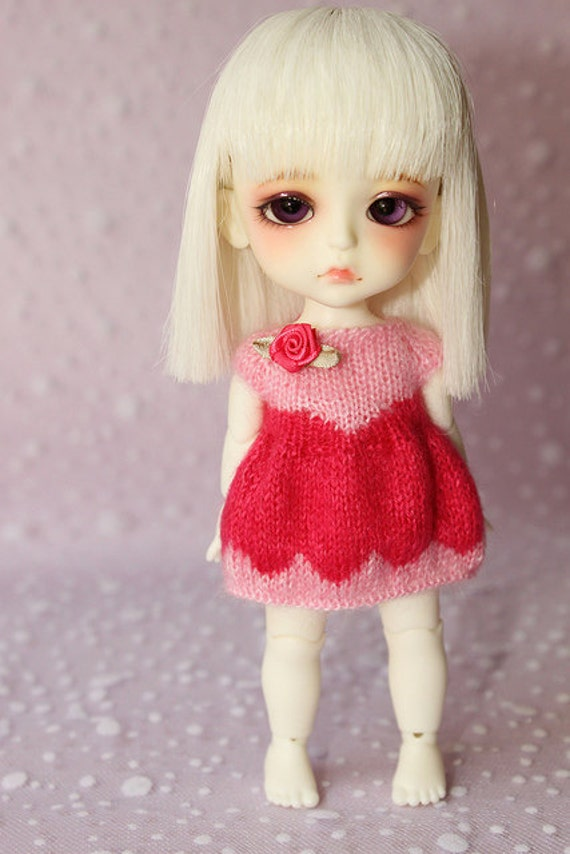 RESERVED for -cottontail- Lati Yellow PukiFee -Dainty Rose- Mohair Puff Dress - DarkPink-BabyPink