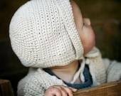 Organic Hand Knit Baby Bonnet - Hat - Eco Friendly - Photo Prop - Crochet - Easter Sale