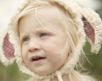 Lamb Baby Bonnet - organic knit lamb hat - knit lamb baby bonnet - knit pink and cream baby bonnet - knit easter bonnet - spring bonnet