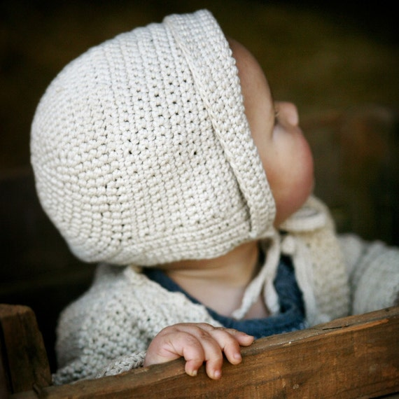 Organic Hand Knit Baby Bonnet - Hat - Eco Friendly - Photo Prop - Crochet - Easter Sale