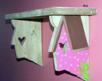 Large Cottage Nursery Birdhouse Wall Shelf Pink and Brown