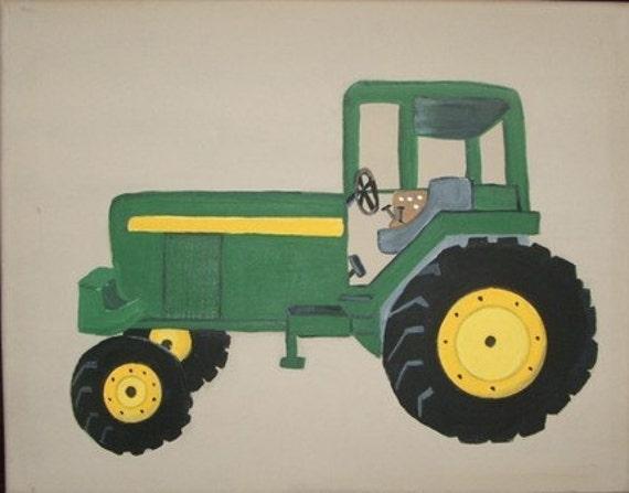 John Deere Tractor Cartoon Prints : Green tractor print john deere custom personalized