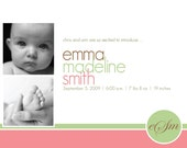 classic pink and green monogrammed girl birth announcement