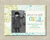 mod floral printable photo invitation (turquoise, aqua, yellow green palette)