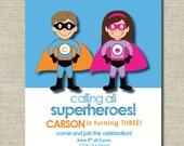 superkids superhero birthday party invitation
