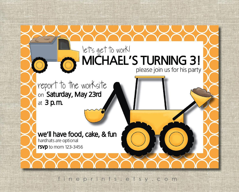 birthday party invitation – Construction Party Invitations
