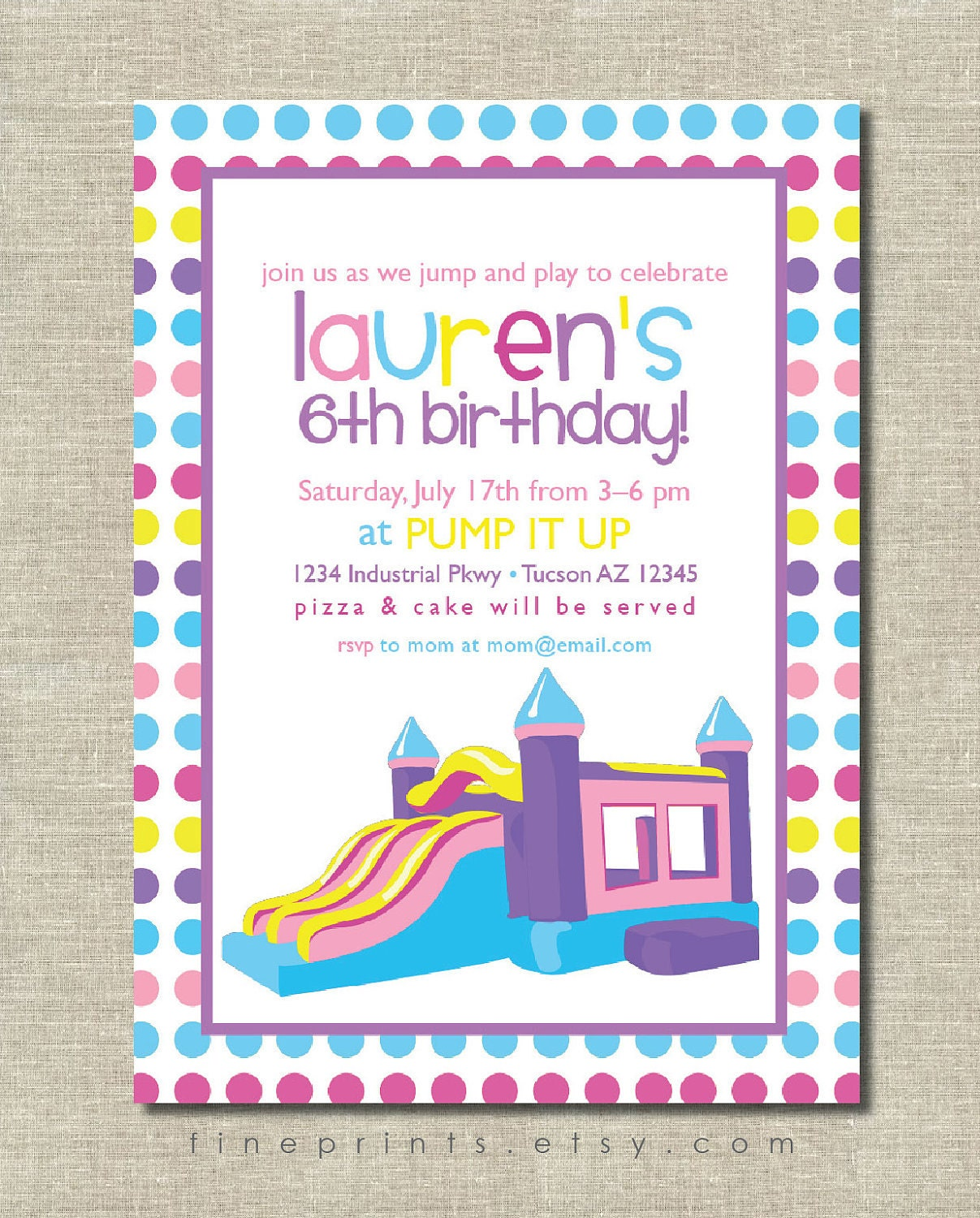 Bounce House Party Invitations – Bounce Party Invitation
