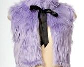 Lavender faux fur vest