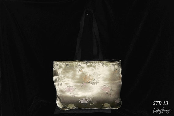 Shoulder Tote Bag - Floral on Buff Oriental Fabric