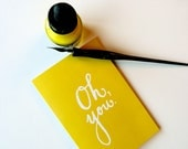 OH, YOU - Lemon Lime Greeting Card  - 4.25x5.5 (folded card) with matching white envelope