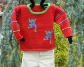 Leaping Tree Frogs Childrens Pullover Sweater Pattern