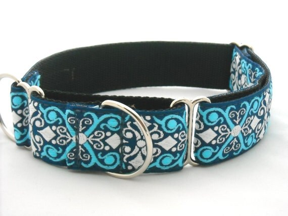 Bellagio Blue Martingale Dog Collar 1.5 inches wide (also available in 1 inch wide)