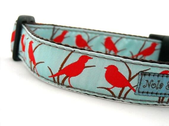 Warbler Blue Dog Collar 1 inch wide
