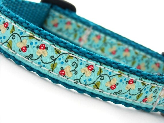 "SALE  - Water Lily Dog Collar  5/8"" wide- last one - ready to ship"