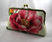 Pink Flowers - silk lined clutch bag
