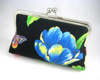 Blue Flower - Silk Lined Cluth Bag