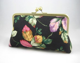 Leaves in Soft Colors - Silk Lined Clutch Bag