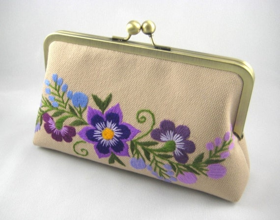 Violets in Hands - Hand embroidered