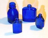 Vintage Bottles Miniatures - 1930 Vicks Cobalt Blue Bottle Plus 3 Other Cobalt Blue Bottles - Set of 4