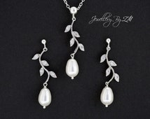 Vine Rhinestone Leaves and Pearl Necklace and Earrings Set - Sterling Silver