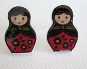 Little Matryoshkas Shrinky Dink Stud Earrings