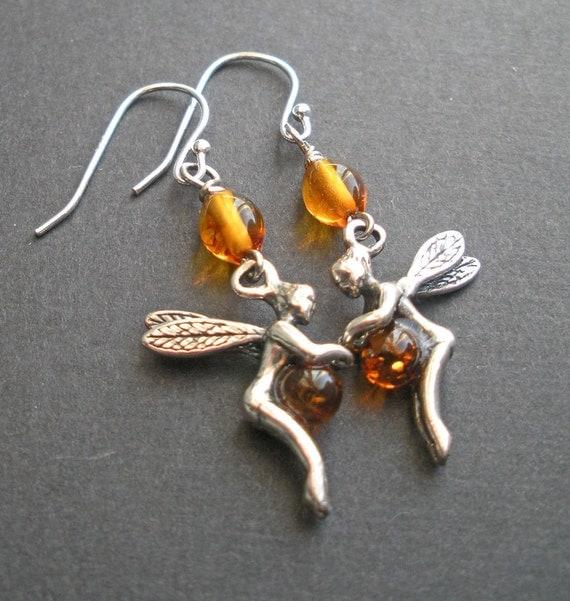 Sterling Silver Fairy Amber Earrings