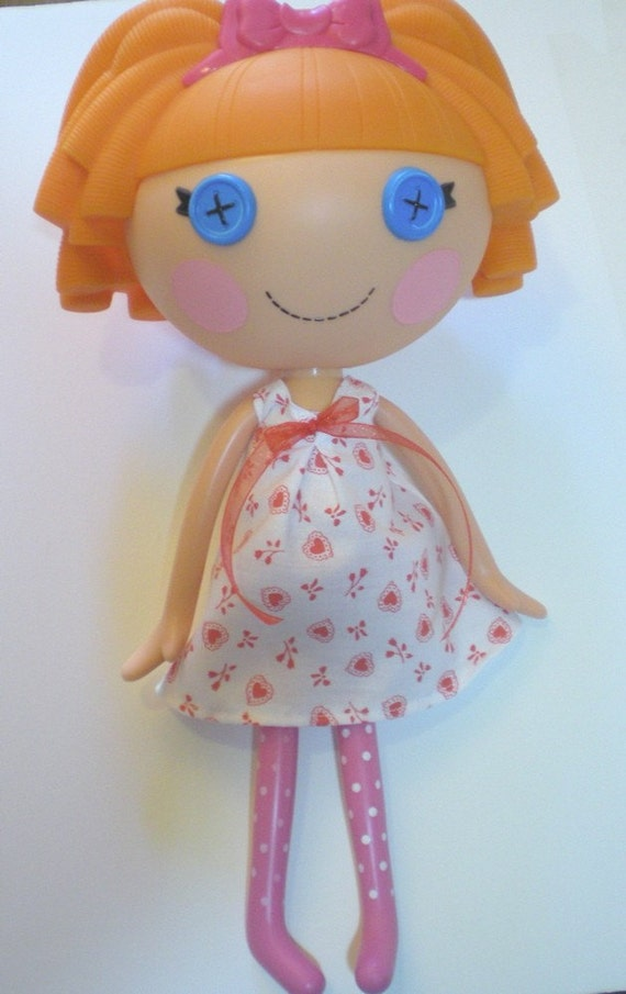 Lalaloopsy Doll Dress - Handmade - Red and White Heart Dress