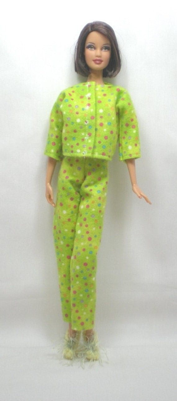 Barbie Handmade Doll Clothes Pajamas Slippers Green Dot