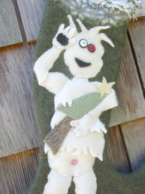 Abominable snowman christmas stocking for Abominable snowman christmas light decoration