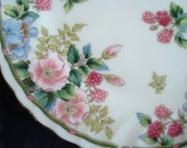 Tea Time Treasures...Two Lovely Floral Scalloped Plates Andrea by Sadek Japan 1980s Vintage NEW
