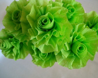 Seven Lime Apple Green Wedding Crepe Paper Roses...Art Deco Stylized Flowers, Lime Green Roses, Apple Green Roses