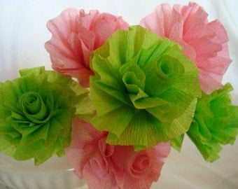 Seven Wedding Crepe Paper Roses...Apple Lime Green and Pink...ART DECO STYLIZED FLOWERS