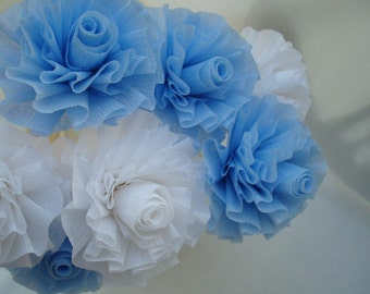 Seven Cool Ice Blue and White Wedding Crepe Paper Roses...Blue and White Flowers, Roses, Bridal Shower, Wedding Shower, Party Favors