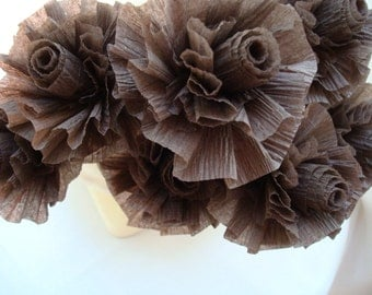 7 Chocolate Brown Wedding Crepe Paper Roses...Art Deco Stylized Flowers, Wedding Flowers, Bridal Shower, Chocolate Roses, Party Flowers