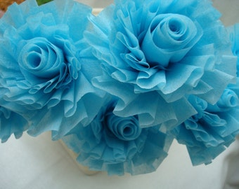 Seven Icy Aqua Mist Wedding Crepe Paper Roses...ART DECO STYLIZED