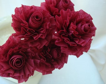 Wedding Crepe Paper Roses...Cranberry Roses, Burgundy Roses, Wine Red Roses, Wedding Roses, Bridal Shower, Wedding Bouquet