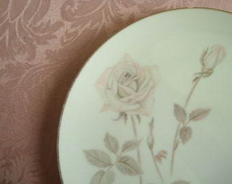 Slightly Imperfect....Soft Pink Roses on White....Noritake Japan 10-1/2 Inch Plate...Melrose