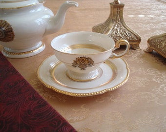 SALE The Maxim DeWinter Inspired Teacup...Lovely Footed Castleton Teacup & Saucer in Belmont Pattern...Lots of Gilding and Beading