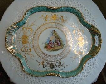 Sale!  Stunning Antique Dresser Tray...Green Aqua Gilt Trim Serenading Couple Figural Tray
