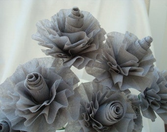 Seven Silver Gray Crepe Paper Roses...Art Deco Stylized Roses, Wedding Roses, Bridal Roses, Bridal Shower, Grey Roses, Gray Roses, Party