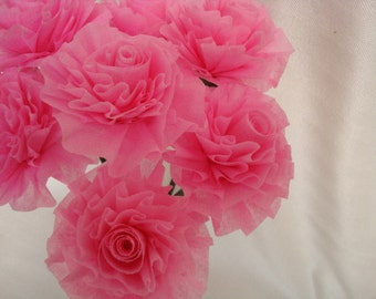 Pink Crepe Paper Roses, Seven Cotton Candy Ice Pink Wedding Crepe Paper Roses...Art Deco Stylized Flowers, Wedding Roses, Wedding Flowers